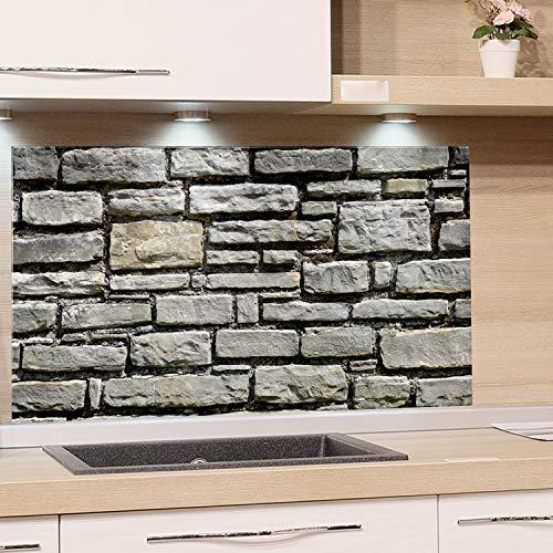 GRAZDesign Küchen-Spritzschutz Glas Küche Herd, Bild-Motiv Steinoptik grau, Glasbild als Küchenrückwand / 60x40cm