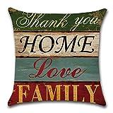 HZDHCLH 4er Set Kissenbezug kissenhülle 45 x 45 cm aus Baumwolle und Leinen Kissenbezüge für Sofa Gartenbett Outdoor Sofakissen Wohnzimmer (Haus & Love) - 5