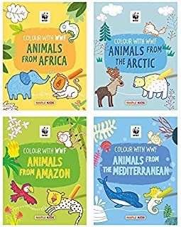 WWF Animal Colouring Books (Set of 4 Books) - Africa, Amazon, Arctic, Mediterranean - Gift to children for painting, drawi...