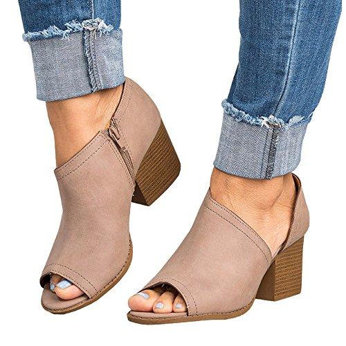 Geilisungren Schuhe Damen Stiefeletten Peeptoes mit Blockabsatz Cut-Outs Frauen Sommer Herbst Mode Reißverschluss Sandalen Einfarbige PU-Leder Kurz Boots