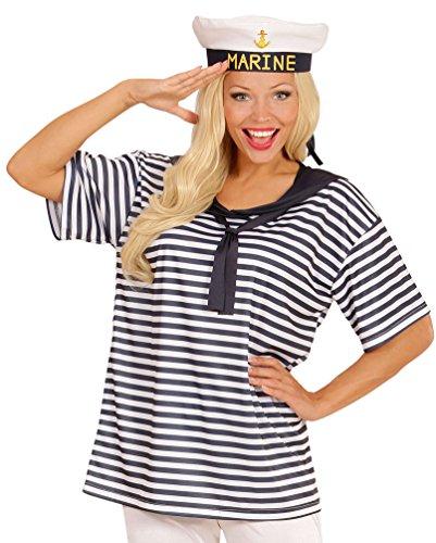 Karneval-Klamotten Matrosin Matrosen Kostüm Set Damen blau-weiß gestreiftes T-Shirt inkl. Marine Matrosen-Mütze, Einheitsgröße