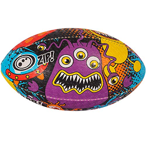 OPTIMUM Pelota de Rugby Space Monster, SpaceMonster, Mini, Unisex-Youth, Multicolor-Multicolor