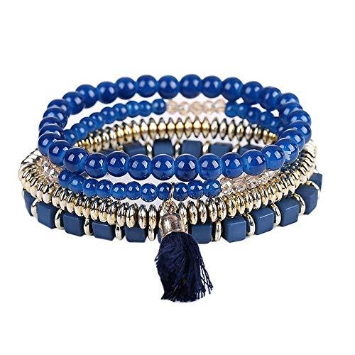 Demiawaking set di braccialetti multifilo da donna con perline rotonde e cubiche e nappa.