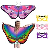 FANTESI 2 Piezas Mariposa Alas Capa Disfraz de Baile Accesorio para Niños