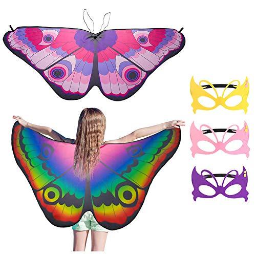 Tagaremuser 2 Stück Kinder Schmetterlingsflügel, Fairy Butterfly Schal und Maske für Jungen Mädchen verkleiden Sich Prinzessin Pretend Play Party Favors (Stil B)