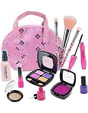 #N/a Kit de maquillaje de plástico de simulación para niños juego de rol sombra de ojos con bolso para cumpleaños Navidad niña regalo para niñas de 3, 4,