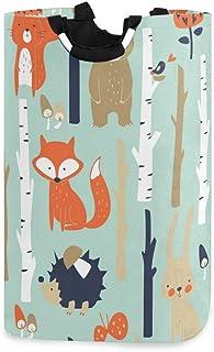 QMIN Panier à linge pliable avec poignée avec motifs animaux renard ours lapin