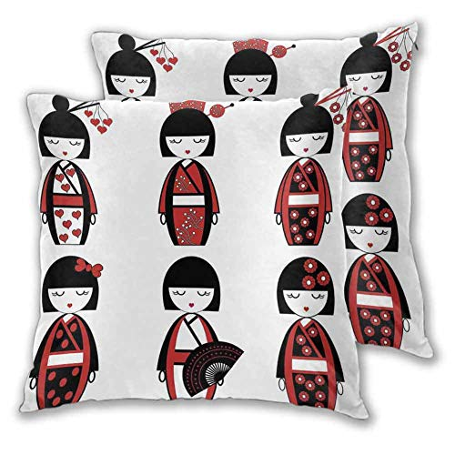 DRAGON VINES Household Pillows Unique Geisha Dolls in Folkloric Costumes Outfits Hair Sticks Kimono Art Image Sofa Sets with high-end Decorative Pillowcases, Two-Piece Sets, W19 xL19