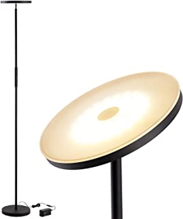 LEONLITE LED Torchiere Floor Lamp, Dimmable Ambience Pro Warm White, 69-Inch Modern Tall Standing Pole Uplight for Living Room, Dorm, Bedroom and Office - Black