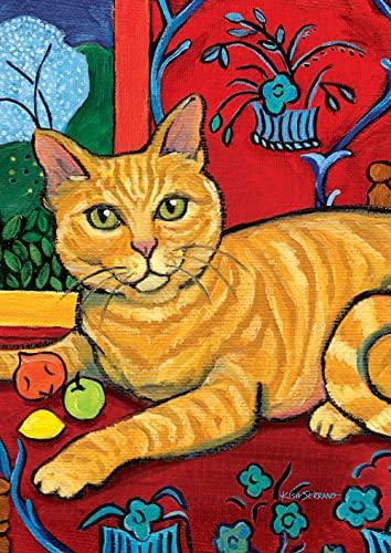 Toland Home Garden Cattise Orange getigerte Gartenflagge, 32,5 x 45,7 cm, dekorativ, Bunte Katze, Porträtmalerei, Gartenflagge