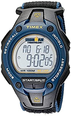 Timex Men's T5K413 Ironman Classic 30 Oversized Black/Blue/Yellow Fast Velcro watch