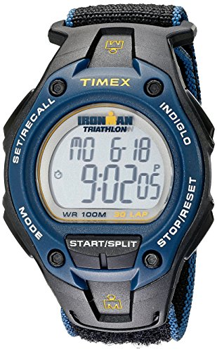Timex Men's T5K413 Ironman Classic 30 Oversized Black/Blue/Yellow Fast Velcro watch