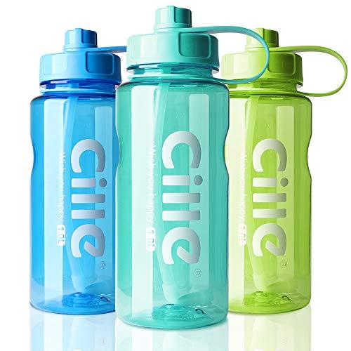 AOHAN Trinkflasche 1L Wasserflasche Sportflasche für Fitness, Wandern, Camping, Outdoor-Sportarten Flaschen aus BPA frei, Auslaufsicher, Nachhaltig (1000ml, B-Cyan)