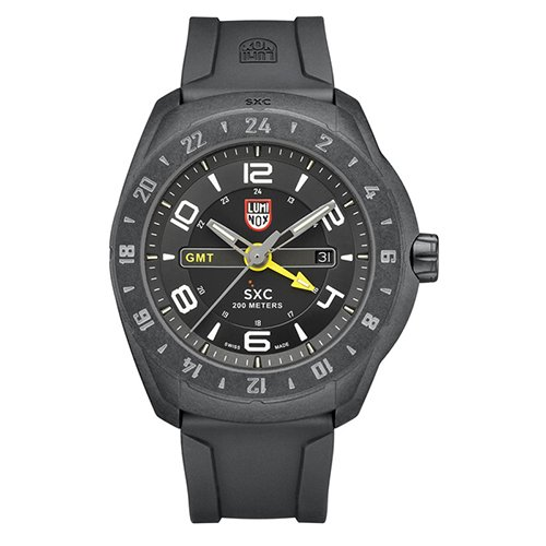 Luminox SXC del a-5021Hombres espacio GMT Negro Dial de silicona, y policarbonato reloj