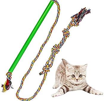 Interactive Dog Toy Flirt Pole Fun Extendable Jouet à mâcher pour Tirer, Chasing, Mâcher, taquineries et Formation, Corde Upgraded,M