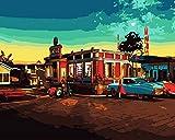Pintura digital para adultos kit Vista de la calle del supermercado pintura al óleo de bricolaje para principiantes niños pinceles y pinturas decoración de la pared del hogar 40x50cm sin marco