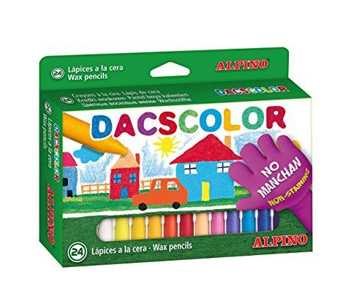 Ceras Dacs 24 colores Alpino - Ceras para Niños - Caja de Ceras de Colores para Material Escolar - Semiblandas, No Manchan, Resistentes, Colores Vivos, Forma Circular 12mm (DC050295)