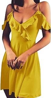 c48952073 Go first Vestidos para mujer De Primavera Verano Personalidad De La Moda  Color Sólido Slim Fit