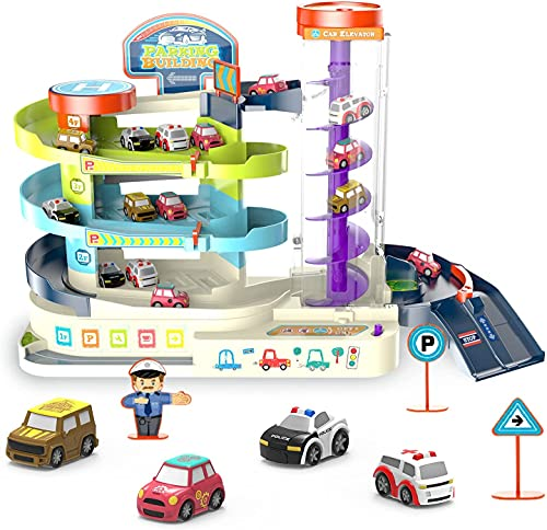 RAZLVMTO Garage Track Set Toy for Kids - Electric & Manual Toddler Car Track Toy Playset with 4 Cars Parking lot Toy with Light Sound & 3-Level Race Track for 3 4 5 6 Year Old Boy Girl