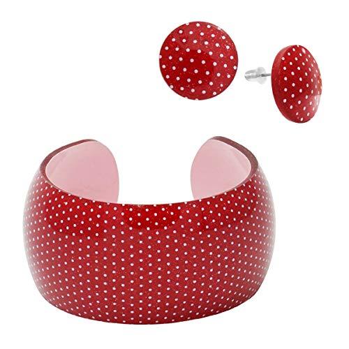 SoulCats® sommerliches Set Armreif und Ohrstecker aus Kunststoff in rot mit Punkten