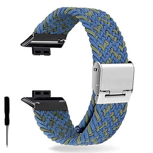 Correa de Reloj para Watch FIT Correa elástica Trenzada Ajustable Correa de muñeca Correa de liberación rápida (Band Color : Blue Green, Band Width : Hua Fit)