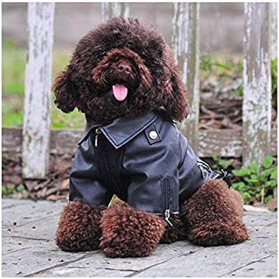 DELIFUR Dog Leather Jacket Pet Cool Motorcycle Clothing Dog Winter Leather Jacket for Small, Medium and Large Dogs and Cats (XL, Black)