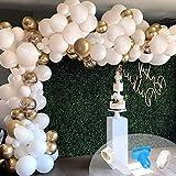 Kit de guirnaldas, 124 globos de arco con globos de confeti de látex de oro blanco, tira de cinta de 4,8 m y lunares para decoraciones de cumpleaños, bodas y fiestas
