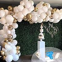 Contenu: lot de 20ballons blancs de 30,48cm, 10ballons dorés de 30,48cm, 10ballons à confetti dorés de 25,4cm, 50ballons blancs de 25,4cm, 30ballons blancs de 12,7cm, 1rouleau de ruban de soie de 39,75m, 1rouleau de bande de 4,87m. 1o...