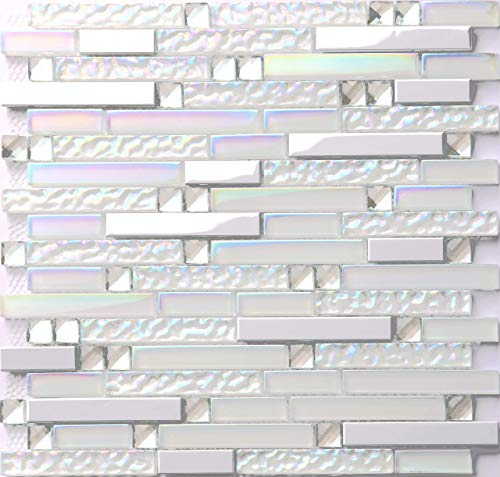 Hominter 11-Sheets Glass and Metal Tile, Iridescent White and Silver Mirror Stainless Steel Linear Wall Tile, Backsplash Tile for Kitchen and Bathroom NB01