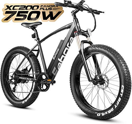 Eahora XC200 750W 4.0 Fat Tire Electric Mountain Bike 48V Electric Bikes for Adults Dual Mechanical Brakes, 14AH Removable Ebike Battery, Lockable Front Suspension, Recharge System, 7-Speed Gear