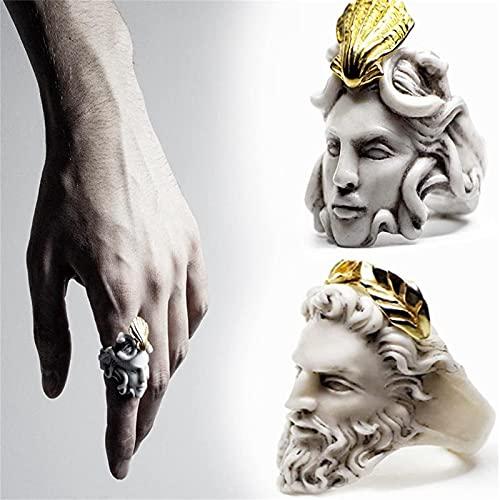 XCZWG Griechische Mythologie Medusa Zeus Ring, Personalisierte Kopfform Ring Zeus Ring, Vintage Skulptur Ring,Medusa Ringe FüR Frauen,Zeus Ringe FüR MäNner #10 Medusa+Zeus