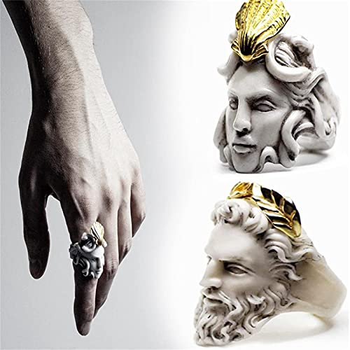 ZQSLZWZW MitologíA Griega Medusa Zeus Anillo, Diosa GóTica Medusa Anillo, AleacióN Vintage Anillo De Escultura Dorada JoyeríA Regalos para Mujeres Y Hombres 10 Medusa+Zeus