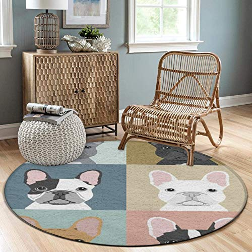 NiYoung Round Flannel Area Rug 3 ft Throw Rug Non-Slip Backing Soft Floor Carpet Home Decor for Sofa Living Room Bedroom Office, French Bulldogs