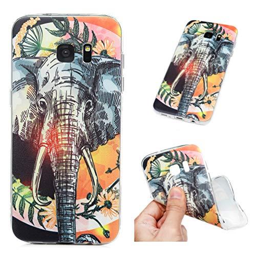 Funda para Samsung Galaxy S7 Edge, funda para teléfono móvil transparente, antigolpes, funda para teléfono móvil, carcasa trasera de silicona TPU, carcasa trasera de Tsunami Girlande Elefant