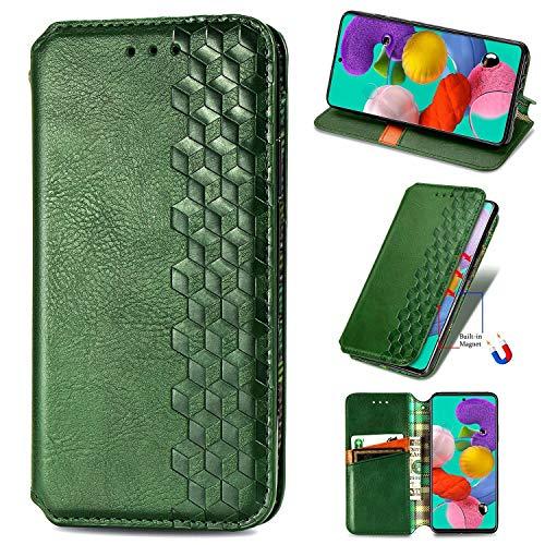Miagon Samsung Galaxy A31 Mode Hülle,Retro PU Leder Flip Brieftasche Abdeckung Magnetverschluss Folio Ständer Kartensteckplätze Handyhülle,Grün