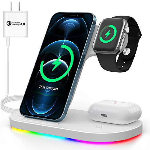 ワイヤレス充電器 充電スタンド 3in1充電器 ワイヤレスチャージャー 急速充電 QI認証済 5W/7.5W/10W/15W出力 iPhone/apple Watch/Airpods/Samsung/HUAWEI/XIAOMI スマホ iPhone 12 / 12pro / 12 pro max /12 Mini / 11 / 11pro / 11 promax / Xs / X / XR / 8 / Samsung S20 / S10 / S10+ / S9 / S9+ / S8 / S8+などqi機種対応 QC3.0充電器付属 ホワイト