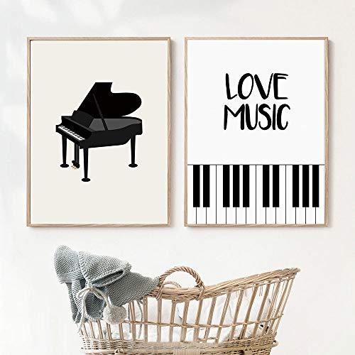 wall art Immagini a parete astratte per soggiorno Spartiti per pianoforte in bianco e nero su tela Pittura Poster e decorazione di stampa-40x60cmx2 senza cornice