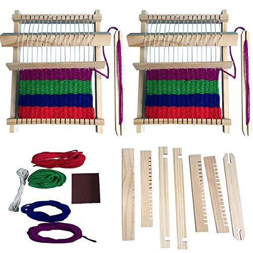 Máquina De Tejer a Mano, Senteen 2pcs Telar De Madera Multifunción Kit Telar Urdimbre Rectangular Weaving Loom Kit Juguetes Educativos Creativos, Adecuado para Principiantes y Niños