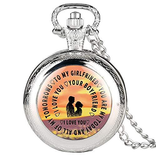 Silberfarbene Quarz-Taschenuhr für Liebhaber zu My Girlfriend-Serie Taschenuhren für Damen Valentinstagsgeschenk Anhänger Uhr Gliederkette für Mädchen
