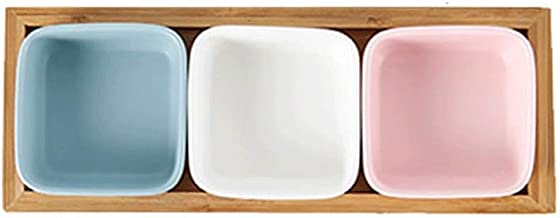 MU Japońska płyta na owoce z podstawką bambusową, kreatywna, ceramiczna, mała miska na przekąski, nakrętka na przekąski, s...