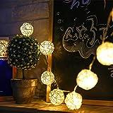 イルミネーションライト ストリングライト クリスマス パーティー 結婚式 誕生日 飾りライト ボール型 電池式 電飾 室内室外 防水 電球色 LED 2.5m 電球数20