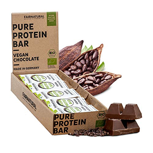ORGANICA Barritas Proteína Chocolate Vegana [de Alemania] Barras de Proteína vegetal sin soja, azúcar añadido o suero de leche con semillas germinadas y con Cacao Orgánico (10 x 45g)