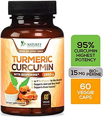 Turmeric Curcumin with BioPerine 95% Curcuminoids 1950mg with Black Pepper for Best Absorption, Made in USA, Best Vegan Joint Support, Turmeric Supplement Pills by Natures Nutrition