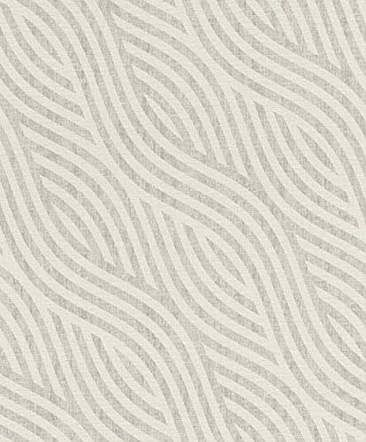 Rasch A.S. Création 704525 Kalahari - Papel pintado (fieltro, 10,05 m x 53 cm), color blanco y gris