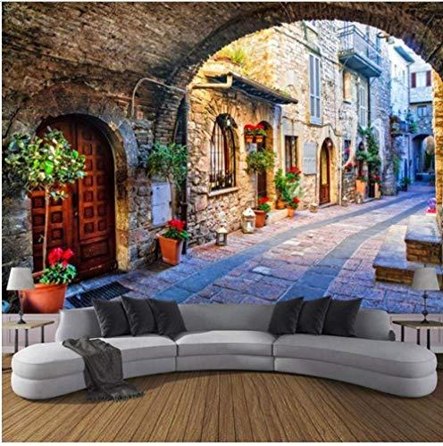 Vlies fotobehang gepersonaliseerd fotobehang 3D Italiaanse stad stad landschap bekleding wandbehang (W)140x(H)100cm (W)140x(h)100cm