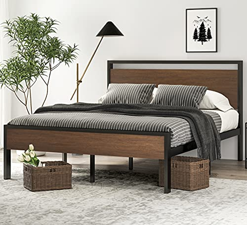 SHA CERLIN 14 Inch Queen Size Metal Platform Bed Frame with Wooden Headboard and Footboard, Mattress Foundation / No Box Spring Needed, Large Under Bed Storage, Non-Slip Without Noise, Walnut