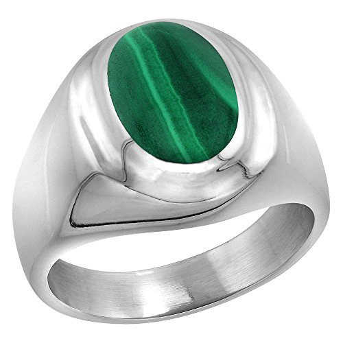 Sterling Silver Malachite Ring for Men Oval Recessed Rim Solid Back Handmade, Size 12