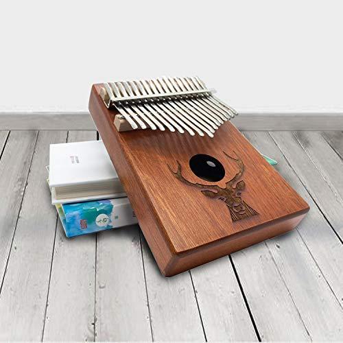 Kalimba Daumenklavier Instrument,17 Schlüssel,Stimmhammer für Musikliebhaber Anfänger,Mit Musikbuch,Daumen Schutz,Stimmhammer