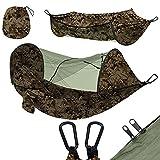 NDAJWGZ Hamacas de Camping de paracaídas Ultraligero con mosquitera para Interiores, al Aire Libre, Senderismo, Camping, mochilero, Viajes, Patio Trasero, Playa (Color : Armygreen)