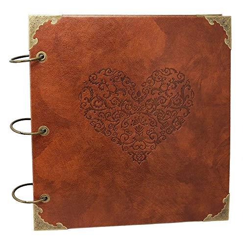 xiduobao Retro Leder Fotoalbum Special Scrapbook DIY Anniversary Scrapbook Album, Vintage Foto Album, Love Herz Hochzeit Album. by XIDUOBAO